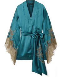 Carine Gilson - Chantilly Lace-trimmed Silk-satin Robe - Lyst