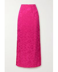STAUD Saman Floral-jacquard Maxi Skirt - Pink