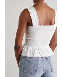 Reformation Oakleigh Lace-trimmed Shirred Organic Cotton-poplin Top - White