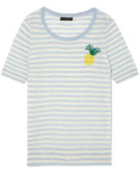 J.Crew - Embroidered Striped Merino Wool T-shirt - Lyst
