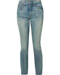 GRLFRND Karolina Distressed High-rise Skinny Jeans - Blue