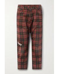 R13 Tailored Drop Verkürzte, Halbhohe Jeans Mit Geradem Bein, Karomuster Und Distressed-details - Rot