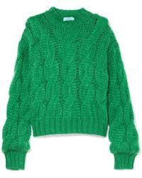 Prada - Pullover Aus Einer Mohairmischung Mit Zopfstrickmuster - Lyst