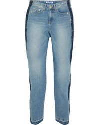 SJYP - Cropped Distressed Mid-rise Straight-leg Jeans - Lyst
