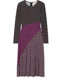MICHAEL Michael Kors Panelled Printed Stretch-jersey Midi Dress - Purple