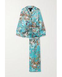 Meng Floral-print Silk-satin Pyjama Set - Blue