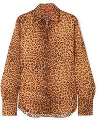 Commission Banker Leopard-print Satin-twill Shirt - Brown