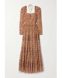 Ulla Johnson Rabia Ruffled Ruched Printed Silk-chiffon Gown - Brown