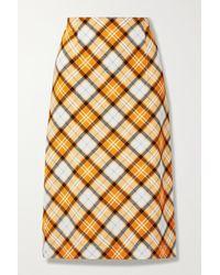 Burberry Checked Stretch-jersey Skirt - Orange