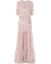 Veronica Beard Mick Ruched Floral-print Silk-chiffon Maxi Dress - Pink