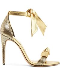 Alexandre Birman - Clarita Bow-embellished Metallic Sequined Leather Sandals - Lyst