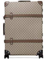 Gucci + Globe-trotter Großer Koffer Aus Beschichtetem Canvas Mit Lederbesatz Und Print - Braun