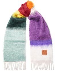 Loewe - Fringed Mohair And Wool-blend Scarf - Lyst