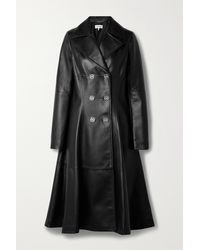 Loewe Double-breasted Leather Coat - Black