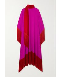 Taller Marmo Mrs. Ross Fringed Crepe Kaftan - Purple