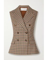 Michael Kors Double-breasted Checked Wool-blend Gabardine Vest - Natural