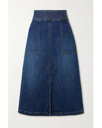 FRAME Trapunto Denim Midi Skirt - Blue