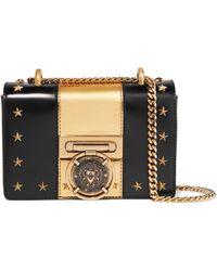 Balmain - Embellished Two-tone Leather Shoulder Bag - Lyst