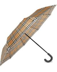 Burberry Trafalgar Checked Shell Umbrella - Natural