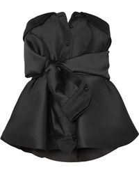 Alexis Mabille - Bow-detailed Satin-twill Top - Lyst