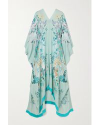 Meng Floral-print Silk-georgette Kaftan - Green