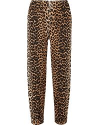 Ganni Camberwell Leopard-print Linen And Cotton-blend Canvas Tapered Pants - Brown