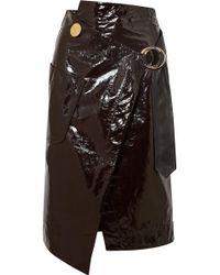 Petar Petrov - Asymmetric Patent-leather Wrap Skirt - Lyst