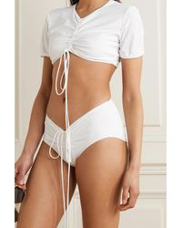 Christopher Esber Tie-detailed Ruched Bikini Top - White