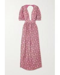 Hannah Artwear + Net Sustain Surya Rückenfreies Maxikleid Aus Bedruckter Seide - Pink