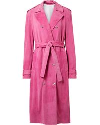 CALVIN KLEIN 205W39NYC - Suede Trench Coat - Lyst
