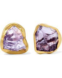 Pippa Small - 18-karat Gold Amethyst Earrings - Lyst