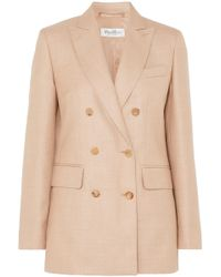 Max Mara - Double-breasted Camel Hair And Silk-blend Blazer - Lyst