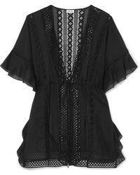 Charo Ruiz Frida Crocheted Lace-paneled Cotton-blend Kaftan - Black