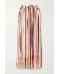 Missoni Mare Fringed Striped Crochet-knit Maxi Skirt - Yellow