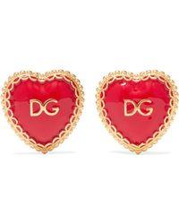 Dolce & Gabbana | Gold-tone Enamel Clip Earrings | Lyst