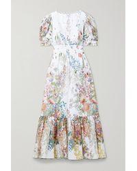 Charo Ruiz Liberty Floral-print Cotton-poplin Midi Dress - White