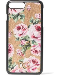 Dolce & Gabbana - Floral-print Textured-leather Iphone 7 Plus Case - Lyst