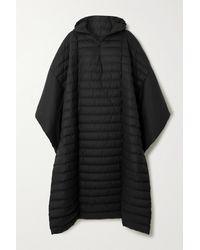 Rains Show Trekker Oversized Hooded Quilted Shell Cape - Black