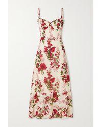 Reformation + Net Sustain Nikita Ruffled Floral-print Georgette Midi Dress - White
