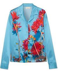 Dries Van Noten Copine Floral-print Silk-satin Shirt - Blue