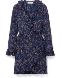 Paloma Blue - Fiesta Ruffled Printed Silk Wrap Dress - Lyst