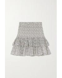 Étoile Isabel Marant Naomi Tiered Floral-print Cotton-voile Mini Skirt - Multicolour