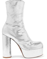Vetements - Metallic Textured-leather Platform Ankle Boots - Lyst