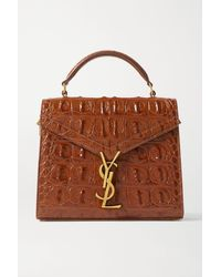 Saint Laurent - Cassandra Mini Croc-effect Leather Tote - Lyst