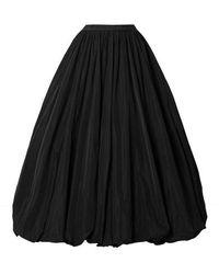 Co. Gathered Taffeta Midi Skirt - Black