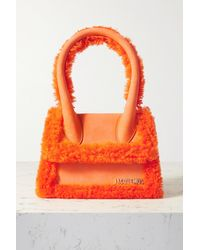 Jacquemus Le Chiquito Moyen Tote Aus Leder Mit Shearling-besätzen - Orange