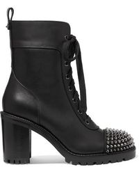 Christian Louboutin Ts Croc 70 Spiked Leather Ankle Boots - Black