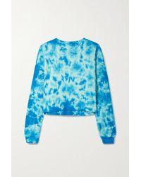 Year Of Ours Verkürztes Sweatshirt Aus Baumwoll-jersey Mit Batikmuster - Blau