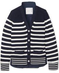 Sacai - Striped Cotton-knit And Poplin Cardigan - Lyst