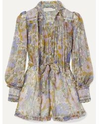 Zimmermann Super Eight Smocked Ruffled Floral-print Silk-chiffon Playsuit - Multicolor